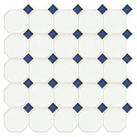 Octagon Matte White with Cobalt 2.25 x 2.25 in
