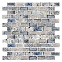 Cool Elegance Brick Glass Mosaic Tile - 12 x 12 in.