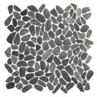Black Sliced Pebble (Rice Cut) 13 x 13 in