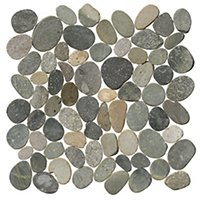 Polished Grey Pebbles 12 x 12 in