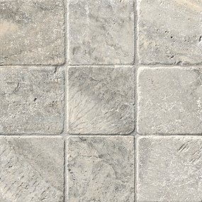 Claros Silver Tumbled 4 In Travertine Floor Tile The