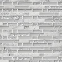 Snow Stria with Glass Stone Mosaic Tile - 12 x 12 in.
