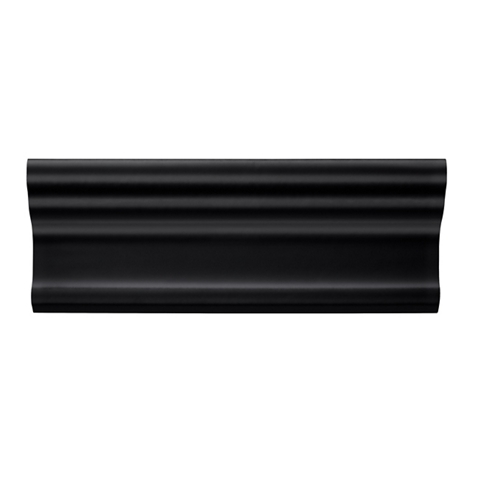 Imperial Black Gloss Cornice Ceramic Tile Fixture - 3 x 8 in