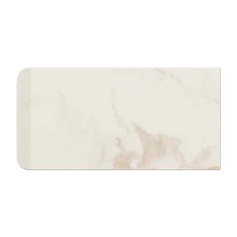 Calacutta Creme Matte RES Single Bullnose Short Side Ceramic Wall Tile - 3 x 6 in