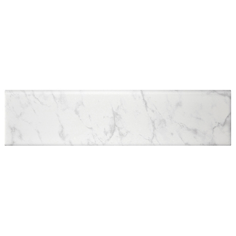 Carrara Gris REL Single Bullnose Long Side Ceramic Wall Tile - 4 x 16 in