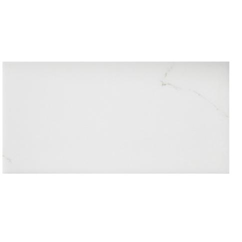 Calacutta Bianco Gloss Ceramic Subway Wall Tile - 3 x 6 in