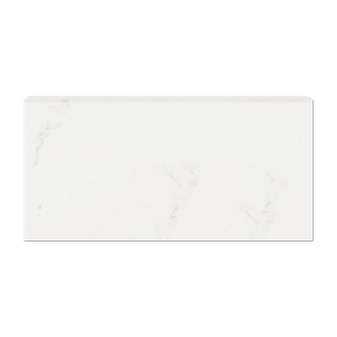 Calacutta Bianco Gloss REL Single Bullnose Long Side Ceramic Wall Tile - 3 x 6 in