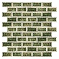 Oak Moss Crackled Cardine Ceramic Mosaic Tile - 1 x 2 in.