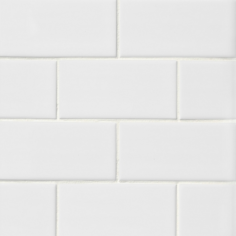Imperial Bianco Gloss Ceramic Subway Wall Tile - 3 x 6 in