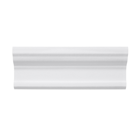 Imperial Bianco Gloss Cornice Ceramic Wall Tile - 3 x 8 in