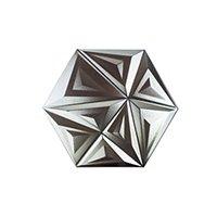 Yara Metal Silver Hex Ceramic Wall Tile - 12 in