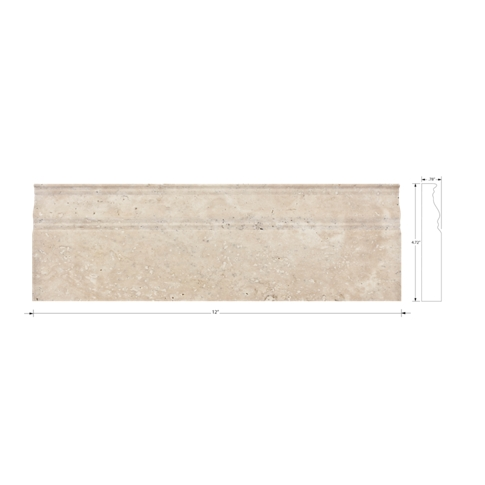Jinshan Bone Sandlewood Honed Skirting Travertine Floor Tile - 4.75 x 12 in.