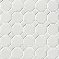 Octagon Matte White Porcelain Mosaic Tile - 2.25 x 2.25 in.