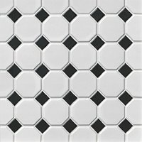 Octagon Matte White with Black 2.25 x 2.25 in