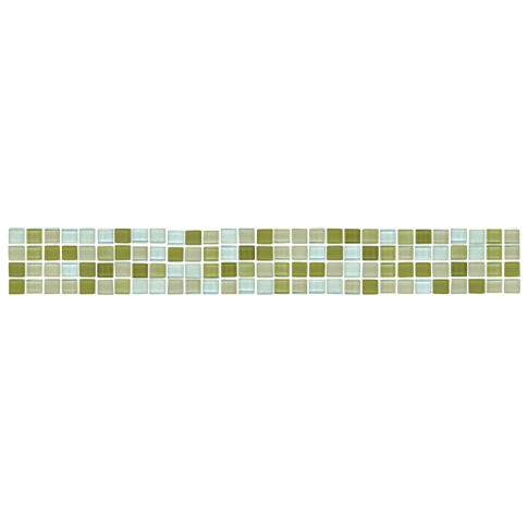 Myst Glass Blend Listello Glass Mosaic Tile - 1.75 x 12 in.