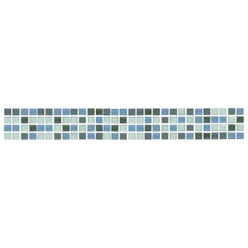 Smokey Glass Blend Listello Glass Mosaic Tile - 1.75 x 12 in.