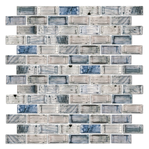 Cool Elegance Brick Glass Mosaic Tile - 12 x 12 in.
