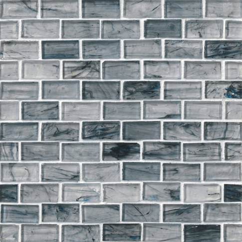 Blue Twilight Brick Glass Mosaic Tile - 1 x 2 in.