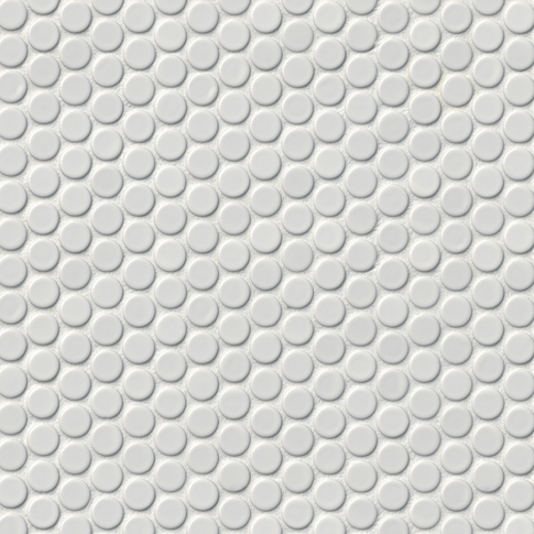 Penny Round Gloss White Porcelain Mosaic Tile
