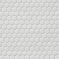 Hex Matte White Porcelain Mosaic Tile - 1 x 1 in.