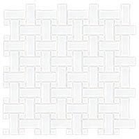 Basketweave Matte White with White Porcelain Mosaic Tile