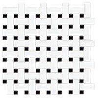 Basketweave Matte White with Black Porcelain Mosaic Tile