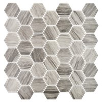 Boardwalk Ash Hex Porcelain Mosaic Wall and Floor Tile 2 in