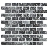 Black Magic Shimmer Glass Mosaic Wall and Floor Tile - 1 x 2 in