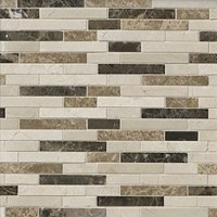 Vashon Island Mix Stria Stone Mosaic Tile - 12 x 12 in