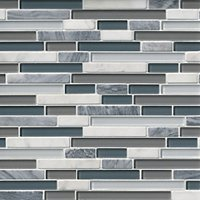 Iceland Stria Glass and Stone Mosaic Tile - 12 x 12 in