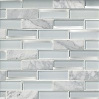 Glass Snow Reflection with Firenze Carrara Mosaic Wall Tile