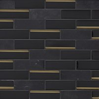 Glass Black Reflection with Noir Honed Mosaic Wall Tile