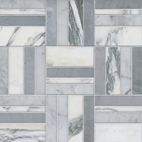 Bennett w/ Roman Silver Marble Mosaic Wall and Floor Tile