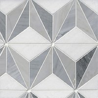 Victoria Grey Braxtyn Lt/Dk Mix Marble Hexagon Mosaic Wall and Floor Tile - 12 in