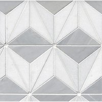 Victoria Grey Braxtyn Light Brushed Marble Hexagon Mosaic Wall and Floor Tile - 12 in