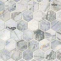 "Ashford Carrara Polished Hex Marble Wall and Floor Tile 2"""