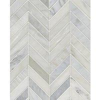 Hampton Carrara Polished Chevron Marble Mosaic Tile