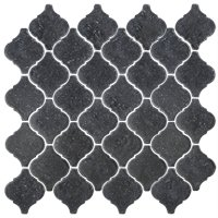 Noir Tumbled Travertine Arabesque Mosaic