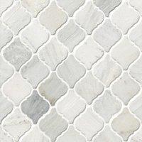 Hampton Carrara Tumbled Marble Arabesque Mosaic