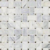 Hampton Carrara Polished Niles w/ Cindarella Grey Marble Mosaic Tile 12 x 12 in