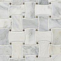 Hampton Carrara Polished Delray w/ Cinderella Grey Marble Mosaic Tile 10 x 10 in