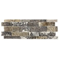 Terra Mocha Architectural Travertine Wall Tile 7 x 20 in
