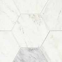 Hampton Carrara Antique Brushed Hex Marble Wall and Floor Tile -12 in