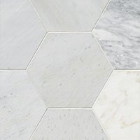 Hampton Carrara Pol Hex Marble Wall and Floor Tile - 12 in