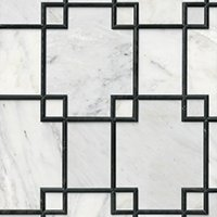 Hampton Carrara Geo Mosaic with Noir Marble Wall Tile