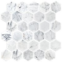 Firenze Carrara Polished 2 in Hex Mosaic Tile