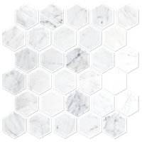 Firenze Carrara Honed Marble 2 in Hex Mosaic Tile