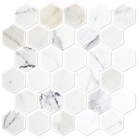 Firenze Calacatta Polished Marble Hex Mosaic Tile 2 in