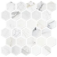 Firenze Calacatta Honed 2 in Hex Marble Mosaic Tile