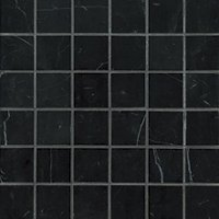 Black Marquina Polished Marble Mosaic Wall and Floor Tile - 2 in